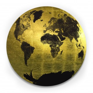 Celestial Sphere - Centred on Europe and Asia - Black on Dutch Gold leaf - 104 x 104 cm