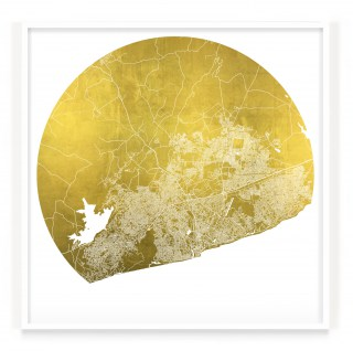Mappa Mundi Accra - White UV treated ink on 24 carat gold leaf dibond