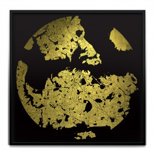 Black UV treated ink on 24 Carat Gold leaf