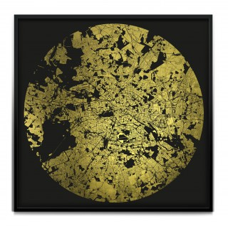 Mappa Mundi Berlin - Black on 24 carat gold leaf dibond