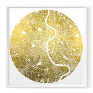 Mappa Mundi Cologne - White UV treated ink on 24 carat gold leaf dibond