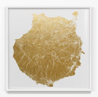 Mappa Mundi Gran Canaria Island - White UV treated ink on Unlaquered 24 carat gold leaf dibond