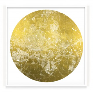 Mappa Mundi Johannesburg - White UV treated ink on 24 carat gold leaf dibond