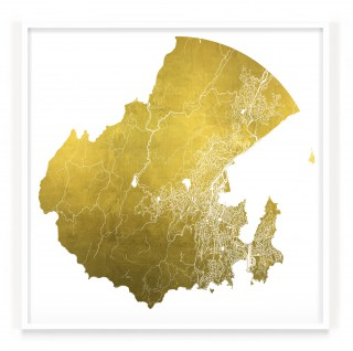 Mappa Mundi Wellington - White UV treated ink on 24 carat gold leaf dibond